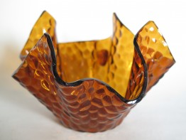#1547  Chance Brothers Glass 'Hammered' Handkerchief Vase, circa 1965