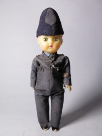 #1543  Plastic Policeman Doll, circa 1940s - 1950s  **SOLD** through our Liverpool shop March 2017