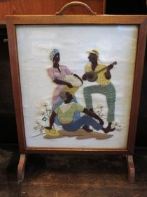 "#1702  Applique ""Cotton Pickers"" Firescreen, circa 1920s - 1930s  **SOLD** December 2019"