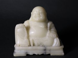 #1432 Carved Soapstone Budai from China, circa 1880 - 1920