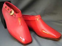 "#0102 Rare Pair of Red 1960s Mary Quant Designed "" Quant Afoot"" Ankle Boots - Unused   **Sold** to New York - March 2014 售至纽约 - 2014年3月"