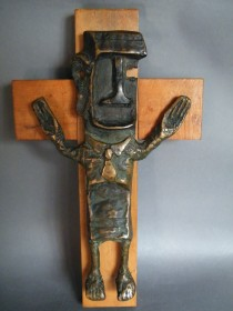 "#0355 Rare Arthur Dooley Bronze ""Crucifixion"" Sculpture, circa 1960s **PRICE ON REQUEST** 售价待询"