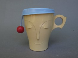 #1536  Art Deco Plastic Cadbury's Bourn-vita Mug with Cover, circa 1949