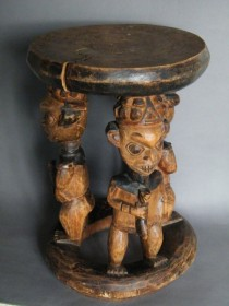 #0245  Late 19th or early 20th Century Carved African Stool from Cameroon