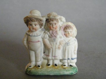 #1777 Small Victorian or Edwardian 'Biscuit' Porcelain Figure Group. circa 1890-1910 **Sold**   2020