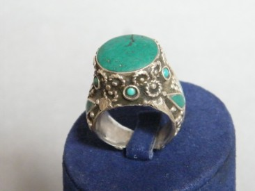 #1200 Large Silver Ring from Tibet, circa 1900 - 1950
